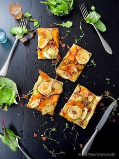 Kürbis-Flammkuchen mit Ziegenkäse - super einfaches und extrem köstliches Herbstrezept