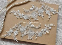 Alencon Lace Appliques Ivory Embroidered Patches by Lacebeauty, $5.99