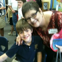 McGinnis and me Grandparents Day at Westminster in his classroom at his desk on 3.23.12.