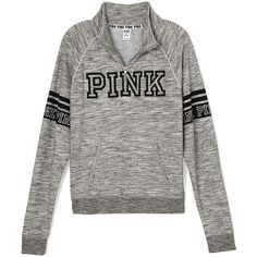 PINK Boyfriend Half-Zip ($55) ❤ liked on Polyvore featuring jackets, pink, tops, victoria's secret and grey