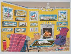 Emily Sutton The Fishing Lodge 2013 Emily Sutton in collaboration with Daniel Bugg of the Penfold Press. Screenprint, edition of 75 Illustrations, Illustration Art, Museum Of Childhood, Embroidered Bird, Bird Sculpture, Contemporary Artwork, Limited Edition Prints, Printmaking, Screen Printing