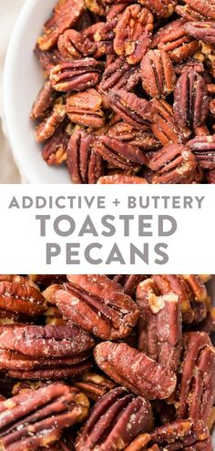 These toasted pecans are so buttery and addictive! They're a super easy and quick appetizer or topping for the holidays, and they're just impossible to stop munching on. Perfect on salads, sweet potato casserole, or by themselves! #appetizer #topping #salad #holidays #entertaining Clean Eating Snacks, Healthy Snacks, Keto Snacks, Healthy Eats, Scones Ingredients, Quick Appetizers, Pecan Recipes, Sweet Potato Casserole, Stop Eating