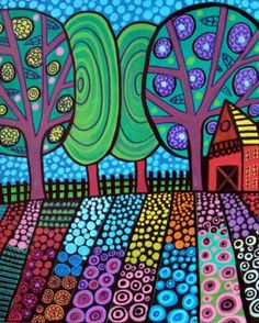 Tree Folk Art Poster Red Barn Print Flower by HeatherGallerArt, $24.00