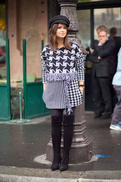 tres interesting houndstooth mashup. Miss Mira in Paris. #MiroslavaDuma