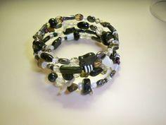 Black and White Multi-Beaded Memory Wire Bracelet - By Elva