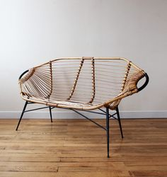 Janine Abraham and Dirk Jan Rol; Rattan and Enameled Metal 'Lemon' Settee for Salon des Art Menagers, 1957.