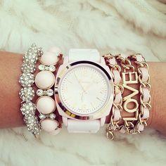 Pink Jewel Love Watch Bracelet