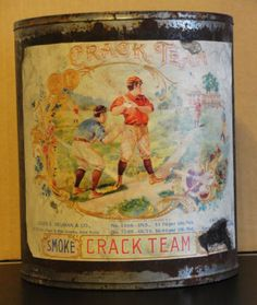 VINTAGE-TIN-Tobacco-Can-w-L-E-Neuman-Co-CRACK-TEAM-BASEBALL-Label