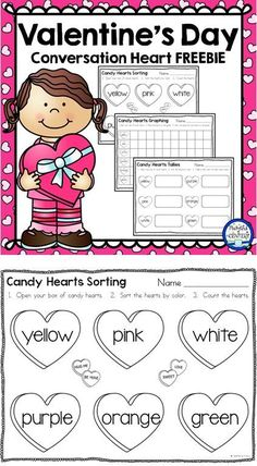 Sort, count, and graph conversation hearts in Pre-K, Kindergarten or First Grade with this Valentine's Day freebie! Valentine Candy Hearts, Valentine Theme, Valentine Day Crafts, Valentine Ideas, Valentine Nails, Kindergarten Activities, Kindergarten Classroom, Preschool Math, Educational Activities