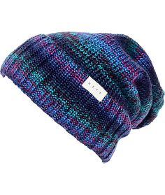 The navy Paige fold over beanie from Neff is the perfect accessory for a chill rainy day. The navy, green, and purple knit slouch fit beanie has a thick ribbed knit cuff with a Neff brand tag on sewn onto it so you can rep your favorite headwear brand.