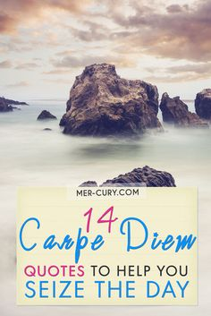 Carpe Diem Quotes | Carpe Diem is often used for emphasis after saying something that urges someone to make the most of the day and what they are doing. It is a useful piece of advice that reminds people to slow down and seize the day. While different people say it in different ways, such as 'you only live once' there is no denying that carpe diem is a powerful message that we want to embrace and to live | http://mer-cury.com/quotes/14-carpe-diem-quotes-to-help-you-seize-the-day/