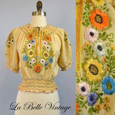 1930s Flower Garden ~ Vintage 30s Embroidered Peasant Blouse ~ Puffy Sleeves ~ Satin Stitch Embroidery