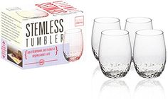 Kitchen Gizmo  Unbreakable Wine Glasses With Hammered Finish 100 Tritan  Set of 4 16oz Stemless Tumblers >>> To view further for this item, visit the image link.