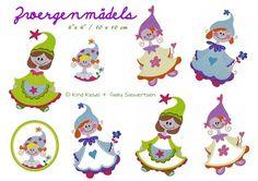 10x10 Stickdateien Zwergenmädels Set von kindundkegel-shop auf DaWanda.com