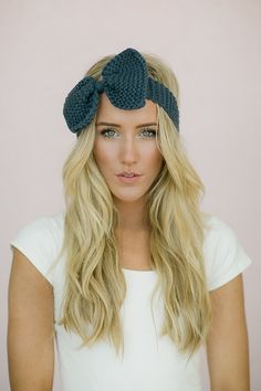 Women's Knitted Bow Headband Knitted Acrylic Bow Ear Warmer with Cinched Center and Loose Bow Ears in Navy Blue on Etsy, $28.00