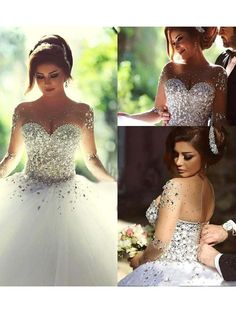 Ball Gown Long Sleeves Scoop Court Train Crystal Tulle Wedding Dresses DressyWell