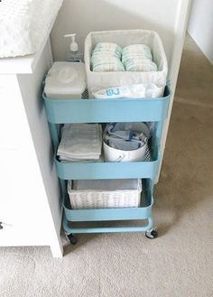 How To Use the $50 IKEA RSKOG Cart in Every Room of the House | Apartment Therapy.  Would be good to keep beach supplies handy by the door, too.