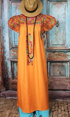 Tangerine & Multi Color Hand Embroidered Mexico San Antonio Wedding Dress Hippie #Handmade #MexicanDress