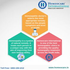 Homeopathy is a system of complementary remedy in which ailments are prepared from the natural substances. It doesn't cause any side-effects on the body. It can attainable at Homeocare International. It has a best name in providing homeopathy treatment through their Homeopathic doctors across the South India. Achieve world class health benefits by consulting our doctors at Homeocare International.