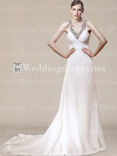 Chiffon Summer V-neck Wedding Dress with Beading BC671  $269