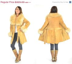 WINTER SALE SUEDE  Shearling bohemian glam by discoleafvintage, $260.00