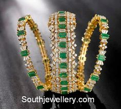 22 Carat gold emerald bangles collection by Navrathan jewellers. emerald bangles gold, latest designs in pachalu bangles, Ruby Bangles, Bridal Bangles, Wedding Jewelry, Silver Bracelets, Bangle Bracelets, Jewelry Design Earrings, Jewellery Designs, Handmade Jewellery, Gold Jewelry