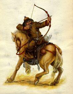 rider shooting bow Fantasy Warrior, Fantasy Rpg, Hungary History, Mounted Archery, Chinese Martial Arts, Fantasy Concept Art, Traditional Archery, Japan Photo, Airbrush Art