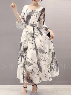 Ericdress Print Half Sleeve Expansion Maxi Dress Maxi Dresses