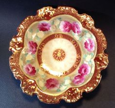 SOLD! Ruffled-Embossed-Bowl-Gilded-Hand-Painted-With-White-Moriage-Accents