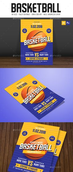 Basketball Tournament Flyer by Guuver Basketball tournament FlyerFeaturesAI cs6 & psd File Well organized Layers 100 Vector A4 Size CMYK 300 DPI Free font usedFont Us