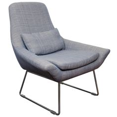 A Mid Century Lounge Chair With Blue Twill Fabric | From a unique collection of antique and modern lounge chairs at http://www.1stdibs.com/furniture/seating/lounge-chairs/
