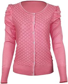 Women's Solid Knitted Puff Sleeve Cardigan Pink(Six Colors)