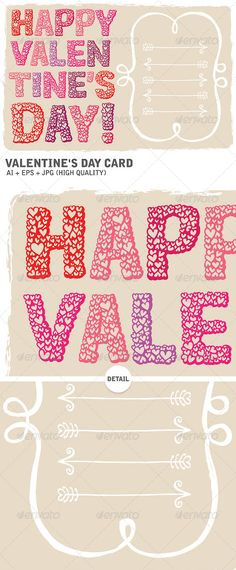 Buy Happy Valentine's Day Card by inkatura on GraphicRiver. Vector hand drawn illustration with the writing Happy Valentine's Day and an extra frame to add your own text. Happy Valentines Day Card, Snowflake Pattern, Funny Wallpapers, Coloring Pages, How To Draw Hands, Romantic, Invitations, Templates, Vectors