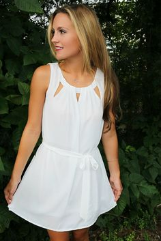 Modern Simplicity Sleeveless Cut Out Off White Tie Shift Dress, $42.00, Amazing Lace
