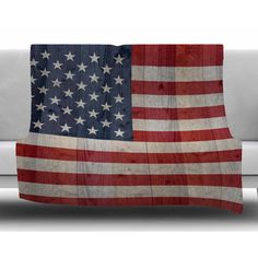 East Urban Home USA Flag On Spruce by Bruce Stanfield Fleece Blanket Size: