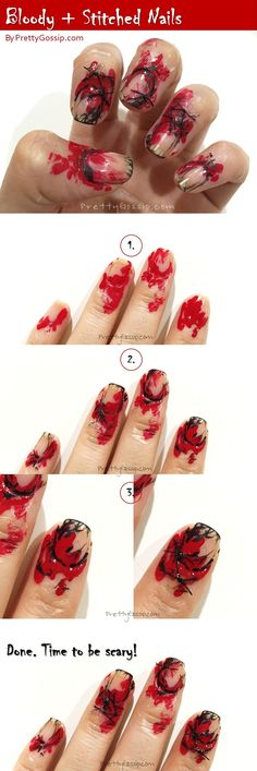 This is the EASIEST Halloween Nail Look EVER. The perfect look for any Halloween costume! #NailArt #NOTD #Scary #HalloweenNails #NailLook #BloodyNails