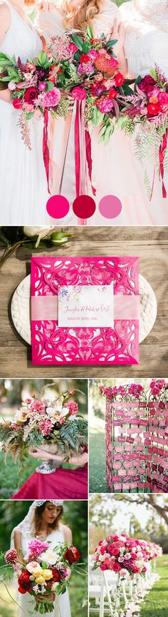 hot pink and red boho romantic wedding color inspiration