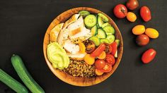 Make this easy protein bowl recipe: Chicken Protein Bowl with Avocado Cream