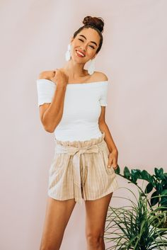 Latest Summer Fashion, Paper Bag Shorts, Late Summer, Off Colour, Striped Shorts, Spring Outfits, Boho Shorts, Cotton, How To Wear