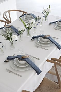 White and blue table