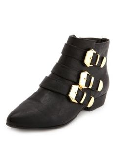 triple buckle pointy toe bootie