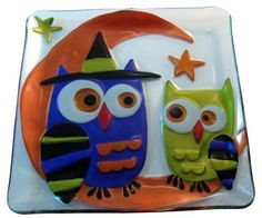 "Owl Glass Fusion Plate by Lori Siebert by Demdaco. $14.99. Perfect for Fall or Halloween parties. Size: 11"" Square. New for 2011 Iridized metallic color glass prevails on this wonderfully artful Owl plate. It is perfect for your fall or Halloween parties. Size: 11"" Round."