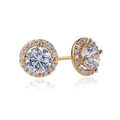 c3af4d1466 Sterling Silver 14K Rose Gold Plated Round CZ Halo Stud Earrings Rose Gold  Plates, Stud