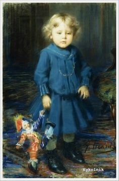 Georges Picard (French, 1857-1946) «Portrait of a Child with a Doll»
