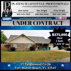 ⭐️Another Platinum Property ⭐️ just went ➡️UNDER CONTRACT⬅️ in Fort Walton Beach, FL! Our seller is extremely excited since his home was only on the market for 34 days! Way to go Platinum! Fort Walton Beach, Residential Real Estate, Parks And Recreation, Just Go, Places To See, Florida, Marketing