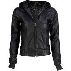 VIPARO Black Hooded Bomber Lambskin Leather Jacket - Hoodwink found on Polyvore