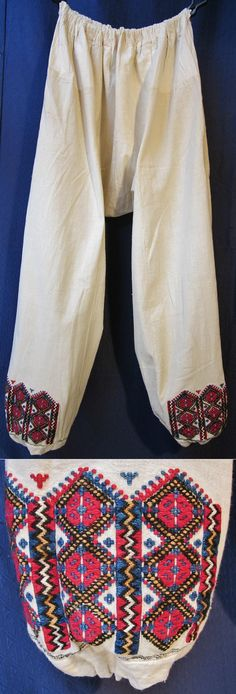 Traditional 'don' (women's long underpands). Cotton on cotton embroidered, five different colours used. From the Turkish Alevi villages in the Ruen district (northern part of the Burgaz province, Bulgaria), among others Dobra Polyana village (named 'Orhan Selim' by the Turks), mid-20th century. Part of a festive costume. (Inv.nr. don031 - Kavak Folklor Ekibi & Costume Collection-Antwerpen/Belgium).