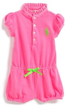 93555c05f6d4 Ralph Lauren Piqué Cotton Romper (Baby Girls) available at  Nordstrom Baby  Couture