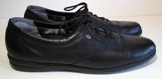 Easy Spirit Lace Up Casual Shoes Black Leather Anti Gravity Womens Sz 9 M…