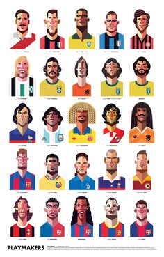 """Playmakers"", Legends of Football on one Poster], - Computer Illustration by Daniel Nyari (b. Romanian/New York), [Playmakers Print]. Art Football, Soccer Art, Football Design, Funny Soccer, Football Fever, Soccer Poster, Kids Soccer, Character Illustration, Graphic Design Illustration"